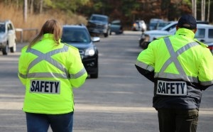 Two safety guards on road