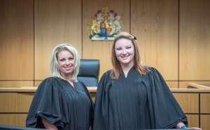 Two ladies in court attire