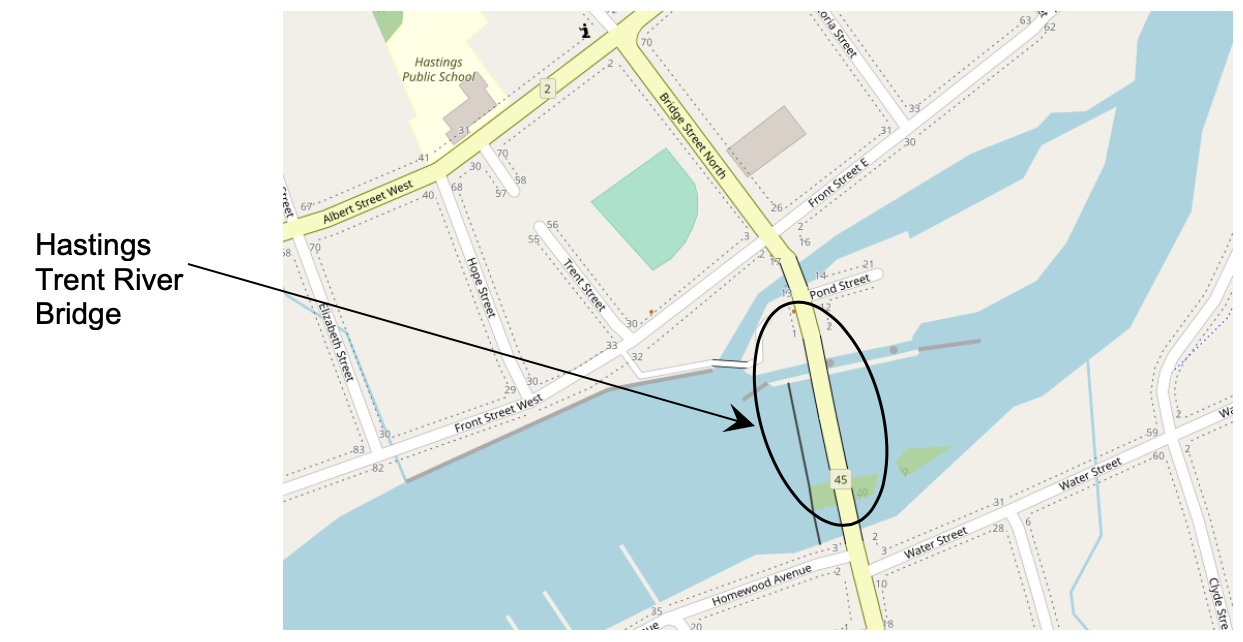 Hastings bridge location shown on a map