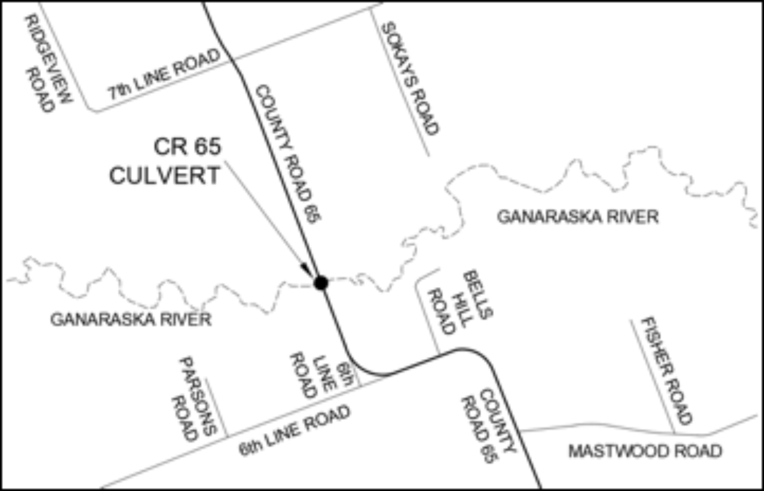 Map of County Road 65 culvert location