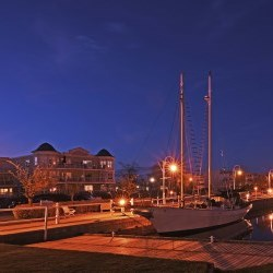 Cobourg harbour at night